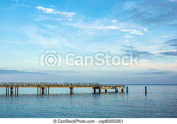 Pier in Sassnitz on the island Ruegen, Germany - csp80055951