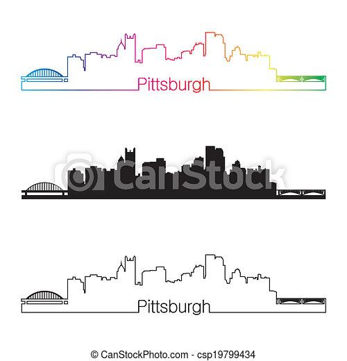 Pittsburgh skyline linear style with rainbow - csp19799434