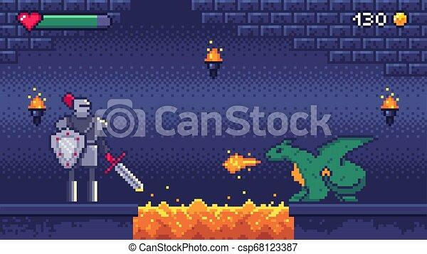 Pixel art game level. Hero warrior fights 8 bit dragon, pixels video games levels scene landscape and retro gaming vector illustration - csp68123387