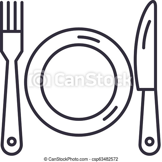 Plate, fork and knife line icon concept. Plate, fork and knife vector linear illustration, symbol, sign - csp63482572