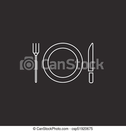 Plate Fork And Knife line icon, dishware - csp51920675