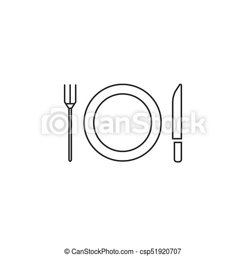 Plate Fork And Knife line icon, dishware - csp51920707