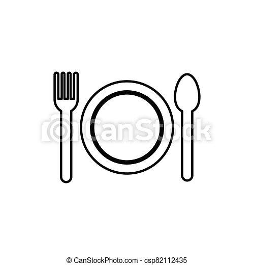 Plate fork and knife line icon - csp82112435