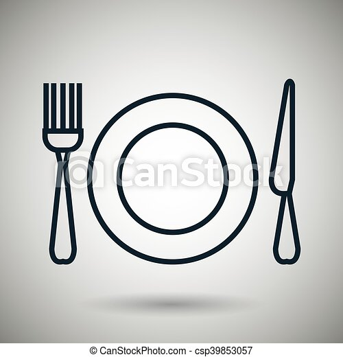 plate fork knife icon - csp39853057