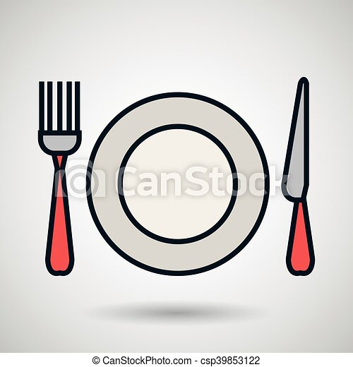 plate fork knife icon - csp39853122