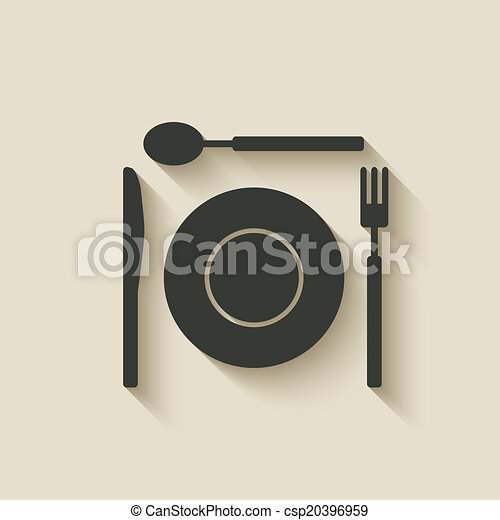 plate fork knife spoon icon - csp20396959