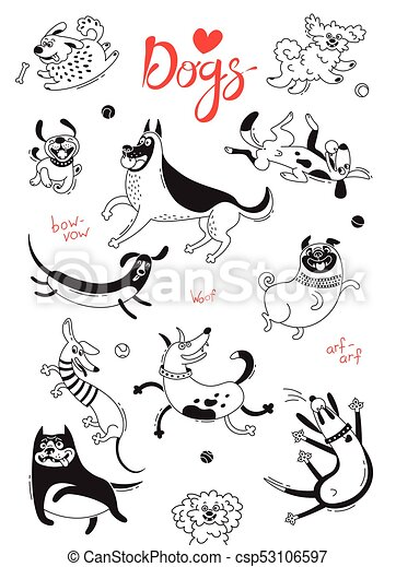 Playing dogs. Funny lap-dog, happy pug, mongrels and other breeds. Set of isolated vector drawings for design - csp53106597