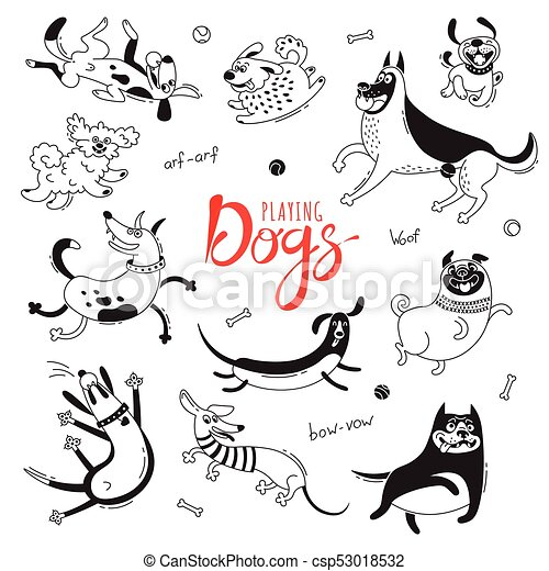 Playing dogs. Funny lap-dog, happy pug, mongrels and other breeds. Set of isolated vector drawings for design - csp53018532