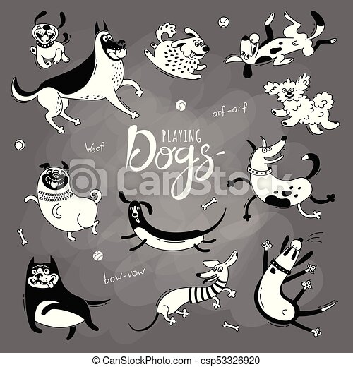 Playing dogs. Funny lap-dog, happy pug, mongrels and other breeds. Set of isolated vector drawings for design - csp53326920