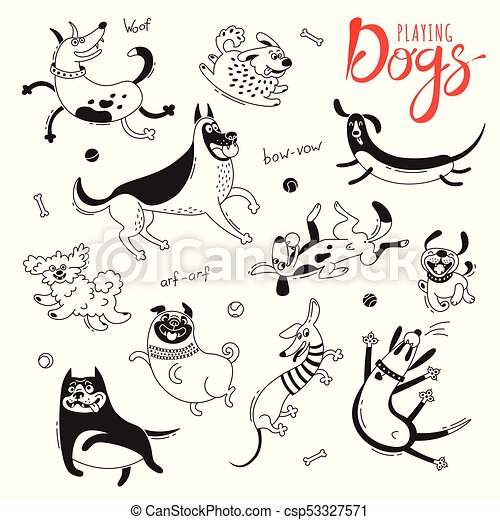 Playing dogs. Funny lap-dog, happy pug, mongrels and other breeds. Set of isolated vector drawings for design - csp53327571