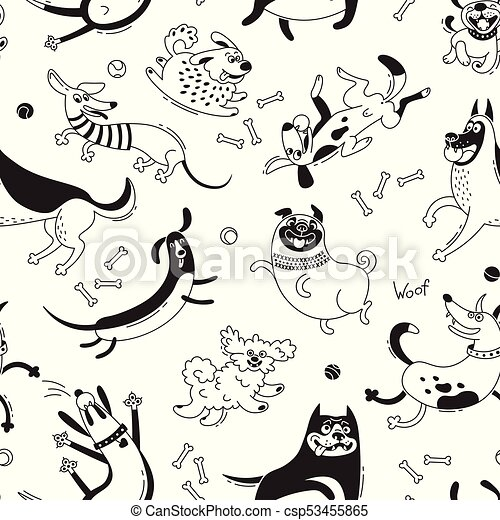 Playing dogs seamless pattern. Funny lap-dog, happy pug, mongrels and other breeds. Vector background for design - csp53455865