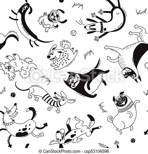 Playing dogs seamless pattern. Funny lap-dog, happy pug, mongrels and other breeds. Vector background for design - csp53106596
