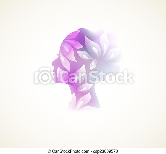 Prifile woman with flowers - csp23009570