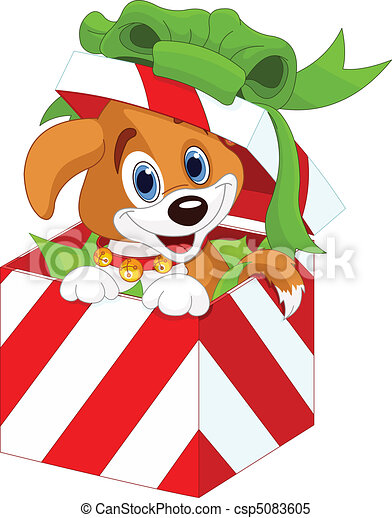 Puppy in a Christmas gift box - csp5083605