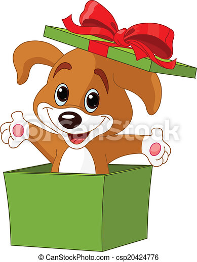 Puppy jumping out from a box - csp20424776