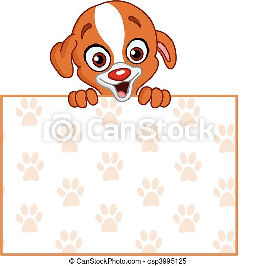 Puppy with sign - csp3995125
