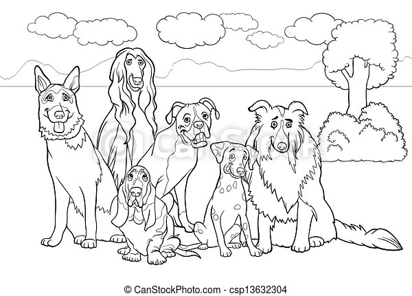 purebred dogs cartoon for coloring book - csp13632304