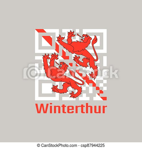 QR code set the color of Winterthur flag, The canton of Switzerland - csp87944225