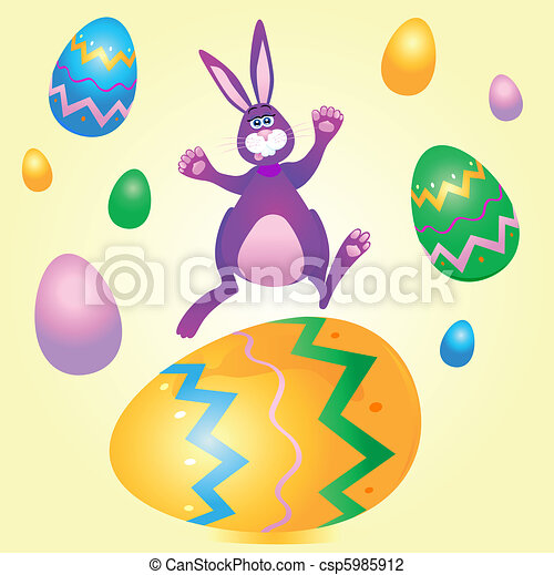 Rabbit with Easter eggs - csp5985912