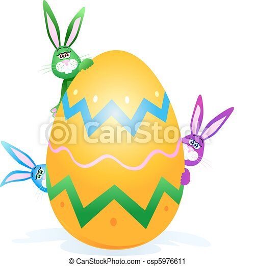 Rabbits with Easter egg - csp5976611