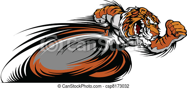 Racing Tiger Mascot Graphic Vector - csp8173032