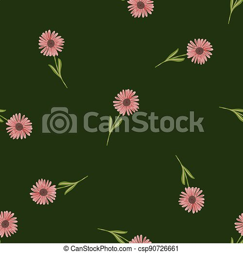 Random chrysanthemum pink flowers ornament seamless pattern in doodle style. Green dark background. - csp90726661