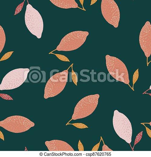 Random seamless doodle pattern with pink lemon ornament. Green dark background. - csp87620765