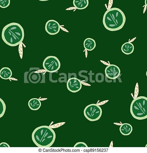 Random seamless pattern with cartoon bright apple half silhouettes. Green dark background. Food backdrop. - csp89156237