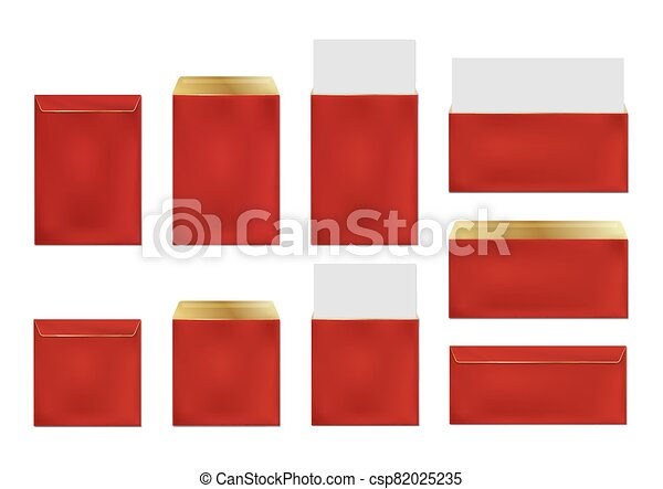 Red envelopes, blank paper covers template set - csp82025235