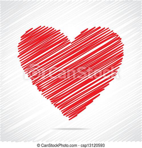 Red sketch heart design - csp13120593