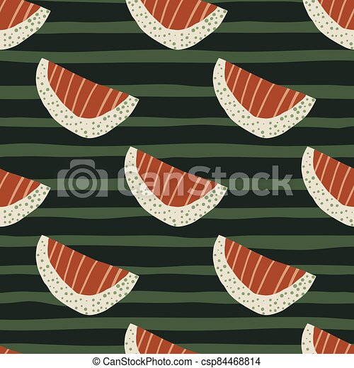 Red stripped and white slices abstract seamless fruit pattern. Green dark background with strips. - csp84468814