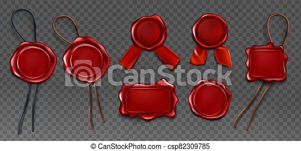 Red wax seal stamp approval sealing icons set - csp82309785