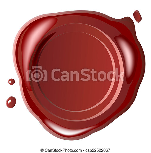 Red wax seal with small drops - csp22522067