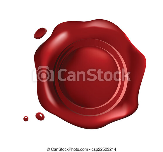 Red wax seal with small drops - csp22523214