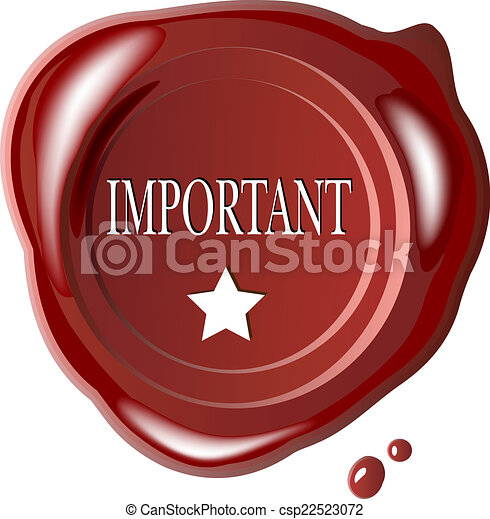 Red wax seal with word important - csp22523072
