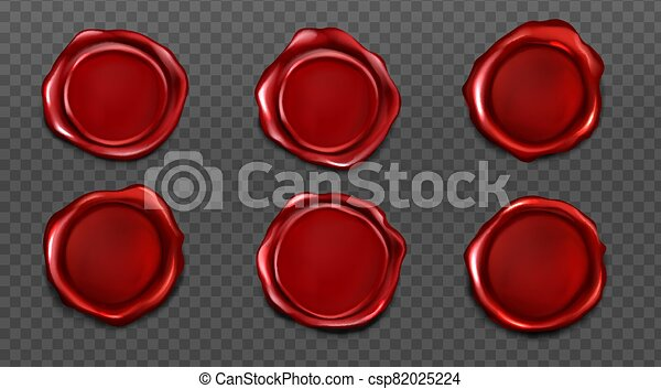 Red wax seals set for letter and envelope - csp82025224