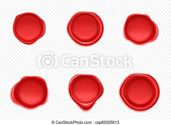 Red wax seals set for letter and envelope - csp82025613