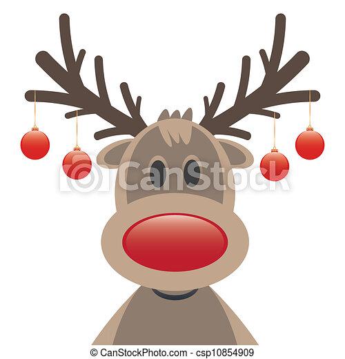 reindeer red nose christmas balls - csp10854909