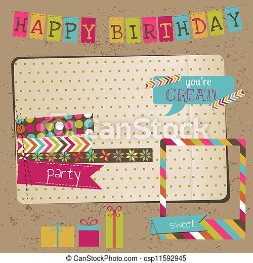 Retro Birthday Celebration Design Elements - for Scrapbook, Invitation in vector - csp11592945