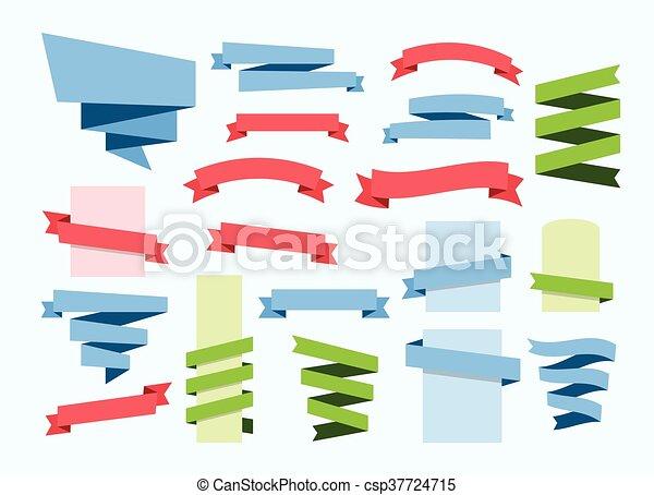 ribbon banner set vector - csp37724715