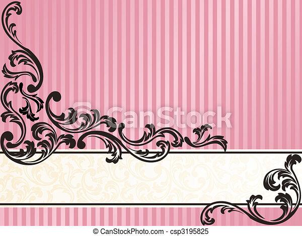 Romantic horizontal French retro banner in pink - csp3195825