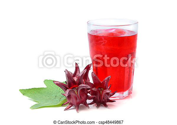 Roselle or hibiscus juice with fresh roselle, a drink for good health - csp48449867