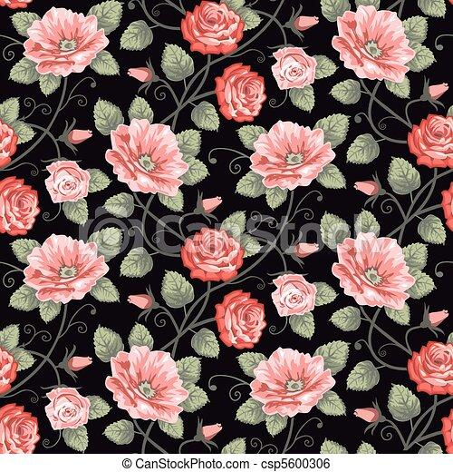 Roses seamless pattern - csp5600306