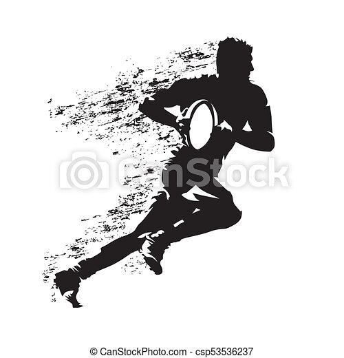 Rugby player running with ball, abstract grungy vector silhouette - csp53536237