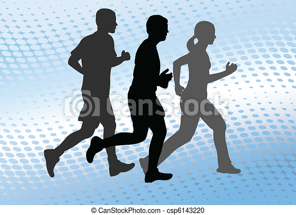 runners on the abstract background - csp6143220