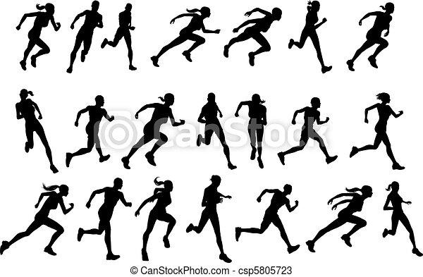 Runners running silhouettes - csp5805723