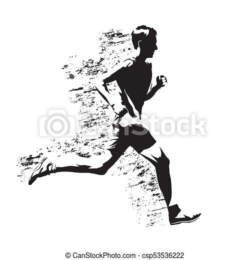 Running man, abstract gungy vector silhouette - csp53536222