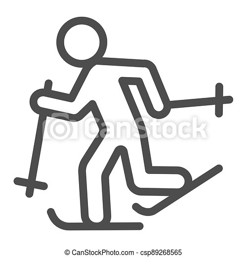 Running skier line icon, Winter season concept, Cross-country skiing sign on white background, skier silhouette icon in outline style for mobile concept and web design. Vector graphics. - csp89268565
