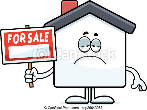Sad Cartoon Home Sale - csp26643087