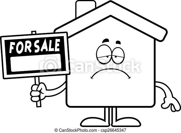 Sad Cartoon Home Sale - csp26645347